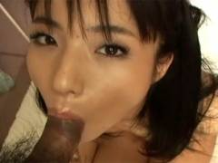 Hot Asian girl goes down on man's pecker before getting twat hammered