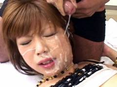 Miki Matsufuji hard pounding and bukkake