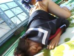 Shy Japanese Coed exhibs and nailed outdoor