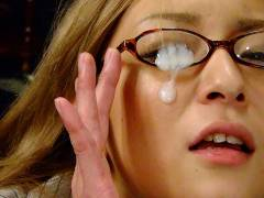Slutty Asian darling gets her glasses creamed