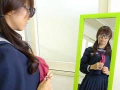 Azusa Misaki in uniform pluged at school