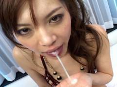 Sexy Japanese slut gets fucked by 2 horny men